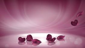 Vector 3D pink background with burgundy rose petals stock illustration