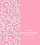 Vector 3d Pink Vintage Invitation Card with Floral Royalty Free Stock Photo