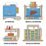 Vector 3d printer flat thin line icon set. Ceramics, medical, food and house 3d printing technologies concept design elements isolated on white background Royalty Free Stock Photo