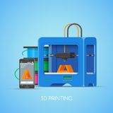 Vector 3D printin concept poster in flat style. Industrial printer print objects from smartphone. Stock Photography