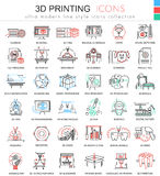 Vector 3d printing color line outline icons for apps and web design. Future 3d printing technology icons. Vector 3d printing color line outline icons for apps Royalty Free Stock Image