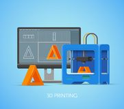 Vector 3D printing concept poster in flat style. Design elements and icons. Industrial printer prints objects from Royalty Free Stock Images