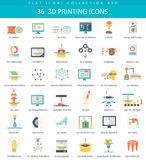 Vector 3D printing flat icon set. Elegant style design. Stock Images