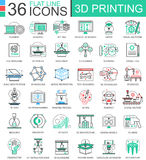 Vector 3D printing technology flat line outline icons for apps and web design. 3D printing icon. Royalty Free Stock Photos
