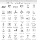 Vector 3D printing ultra modern outline line icons for web and apps. Stock Image