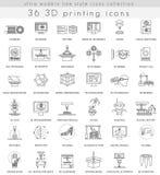 Vector 3D que imprime a linha ultra moderna ícones do esboço para a Web e os apps ilustração do vetor