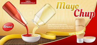 Vector realistic ad poster - mayochup sauce cooking. Vector 3d realistic ad poster with plastic bottle with mayochup sauce and cooking of it. Recipe of mix Royalty Free Stock Photography