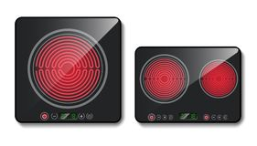Vector 3d realistic black induction cooktops. Vector realistic black induction cooktops or glass-ceramic cooking panels, hobs with one and two heating zones vector illustration
