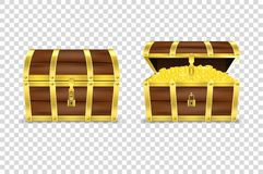 Vector 3d Realistic Closed and Opened Retro Vintage Antique Old Treasure Wooden Pirate Dower Chest with Glow Gold Coins. And Padlock Closeup Isolated on stock illustration