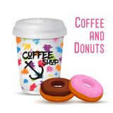 Vector 3d realistic coffee mug with donut Royalty Free Stock Image