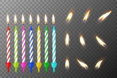 Vector 3d realistic different birthday party colofful wax paraffin burning cake candle and different flame of a candle. Icon set closeup isolated on Stock Photo