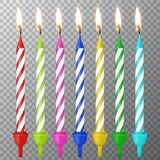Vector 3d realistic different birthday party colofful wax paraffin burning cake candle icon set closeup isolated on. Transparency grid background. Design Royalty Free Stock Images