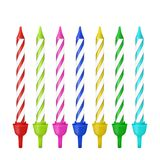 Vector 3d realistic different birthday party colofful wax paraffin cake candle icon set closeup isolated on white. Background. Design template, clipart for Royalty Free Stock Images