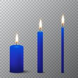 Vector 3d realistic different blue paraffin or wax burning party candle icon set closeup isolated on transparency grid. Background. Thick, medium and thin size Stock Photo