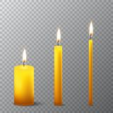 Vector 3d realistic different orange paraffin or wax burning party candle icon set closeup isolated on transparency grid. Background. Thick, medium and thin Royalty Free Stock Photo