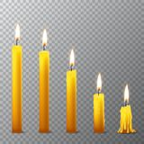 Vector 3d realistic different orange paraffin or wax burning party candle icon set closeup isolated on transparency grid. Background. Whole, melted and candle Stock Photography
