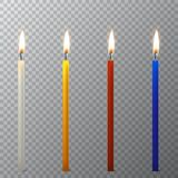 Vector 3d realistic different paraffin or wax burning party candle icon set closeup isolated on transparency grid. Background. White, orange, red, blue. Design Stock Photos