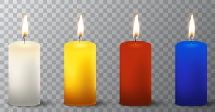 Vector 3d realistic different paraffin or wax burning party candle icon set closeup isolated on transparency grid. Background. White, orange, red, blue. Design Stock Photo