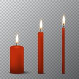 Vector 3d realistic different red paraffin or wax burning party candle icon set closeup isolated on transparency grid. Background. Thick, medium and thin size Stock Photo