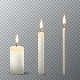 Vector 3d realistic different white paraffin or wax burning party candle icon set closeup isolated on transparency grid. Background. Thick, medium and thin size Royalty Free Stock Images