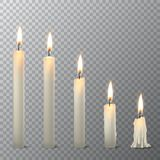 Vector 3d realistic different whiteparaffin or wax burning party candle icon set closeup isolated on transparency grid. Vector 3d realistic different white Royalty Free Stock Image