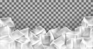 Vector 3d realistic ice cubes frame, border. Square transparent frozen objects. Frost blocks isolated on translucent background Stock Photo