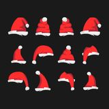 A lot of red Santa Claus hats in different forms on a black background. Vector illustration. vector illustration