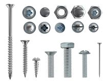 Vector 3d realistic steel bolts, nails, screws. Vector 3d realistic illustration of stainless steel bolts, nails and screws on white background. Top and side Royalty Free Stock Photography