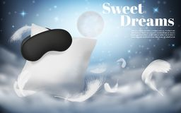 Vector 3d realistic mockup of comfortable sleep. Vector 3d realistic illustration with white pillow, sleep mask, feathers, isolated on blue night background with royalty free illustration