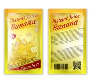 Vector 3d realistic instant banana juice package. Vector 3d realistic package of instant juice isolated on white background. Yellow banana and slices in splashes Royalty Free Stock Photo