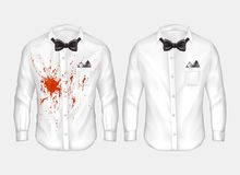 Vector realistic shirts before and after washing. Vector 3d realistic male white shirts with bow-ties, one dirty, crumpled with red stain of wine, blood or Stock Photos