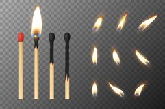 Vector 3d realistic match stick and different flame icon set, closeup isolated on transparency grid background. Whole. And burnt matchstick. Stages of burning Stock Photos