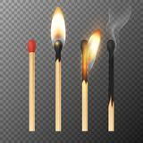 Vector 3d realistic match stick icon set, closeup isolated on transparency grid background. Whole and burnt matchstick. Stages of burning the match. Symbol of Stock Images