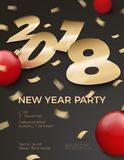 Vector 3d realistic New Year Party invitation. With gold foil paper number 2018 laying on black surface, with red balls, confetti, shadows, perspective and blur Stock Photos