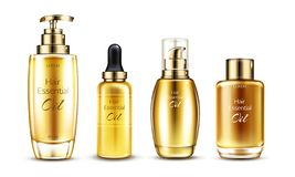 Vector 3d realistic oil essence set royalty free illustration