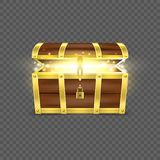 Vector 3d Realistic Opened Empty Retro Vintage Antique Old Treasure Wooden brown Pirate Dower Chest with a Glow, Golden. Metal Stripes and Padlock and Keyhole stock illustration
