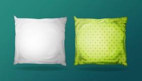 Vector 3d realistic pillow mockup set. Vector 3d square pillow mockup set. Realistic bedding fabric elements. White green feather cotton rectangular cushion vector illustration