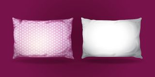 Vector 3d realistic pillow mockup set. Vector 3d pillow mockup set. Realistic bedding fabric elements. White purple feather cotton rectangular cushion, cozy Stock Photos