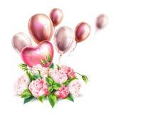 Vector 3d realistic pink peony elegant bouquet. Realistic peony flowers bouquet with heart balloons. Elegant valentines day, international women day holiday vector illustration