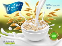 Vector 3d realistic package of oat flakes. Vector 3d realistic promo poster, banner of oat flakes. Cereal ears, grains with white bowl and splashes of milk Stock Photography