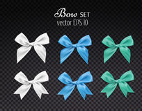 Vector 3d realistic ribbon colored bows set. dark transparent background Stock Photography