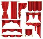 Vector 3d realistic set of red luxury curtains. Open and closed, with drapery and decorative cords and tassels isolated on background. Textile drape, decor Royalty Free Stock Images