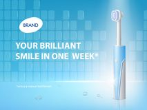Vector 3d realistic toothbrush on ad poster. Promo banner with hygiene product. Dentist equipment, modern electric technology with ultrasound. Fiber setae vector illustration