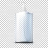 Vector 3d realistic transparent plastic bottle. With pump cap on plaid background. Mock-up for product package branding Royalty Free Stock Images