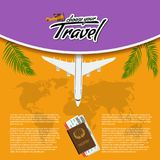 Vector 3D Realistic Travel and Tour creative Poster Design with realistic airplane, world map, passport and air tickets. 3D Realistic Travel and Tour creative Stock Photos