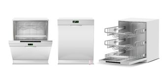 Vector 3d realistic white dishwasher with display Royalty Free Stock Photos