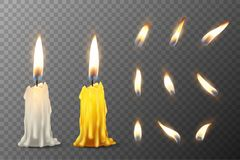 Vector 3d realistic white and orange paraffin or wax burning party candle or candle stump and different flame of a. Candle icon set closeup  on transparency Stock Photography