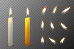 Vector 3d realistic white and orange paraffin or wax burning party candle and different flame of a candle icon set. Closeup  on transparency grid background Stock Photography