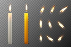 Vector 3d realistic white and orange paraffin or wax burning party candle and different flame of a candle icon set. Closeup  on transparency grid background Royalty Free Stock Image