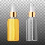 Vector 3D Realistisch de beschermingscosmetische product van de schoonheidshaarverzorging Plastic witte en tranparent container v Royalty-vrije Stock Afbeelding